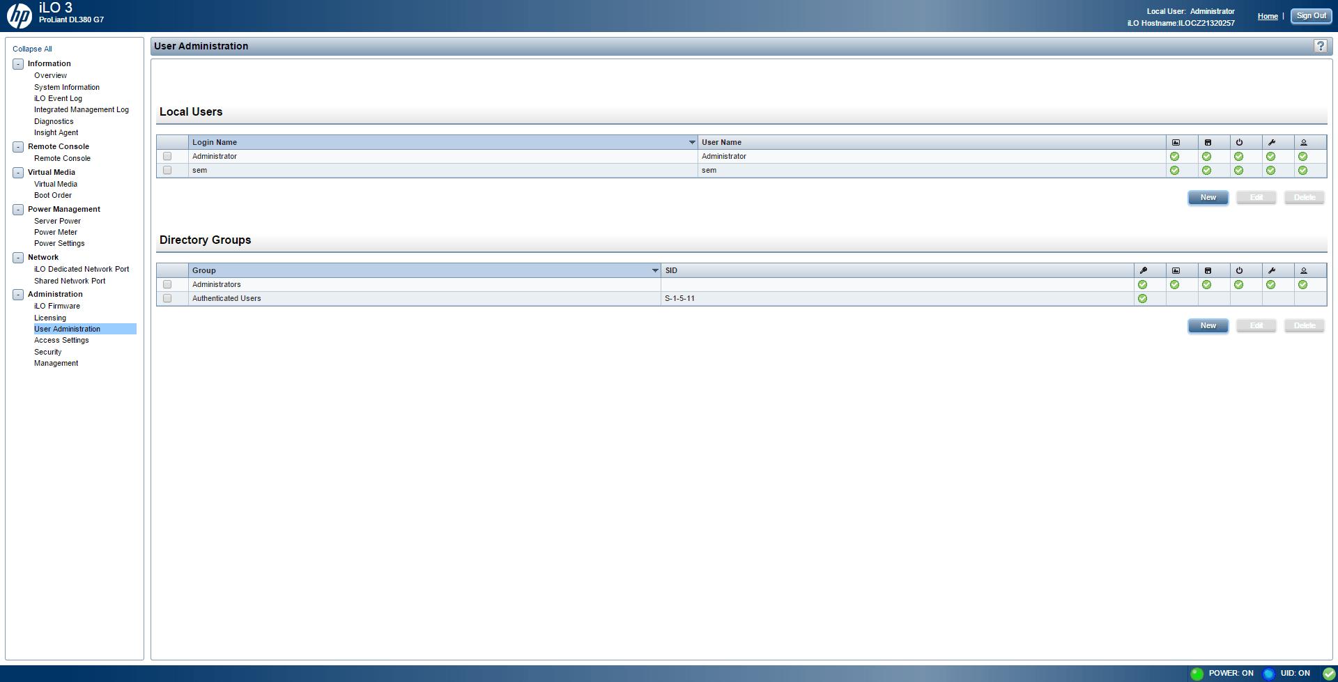 Как создать нового пользователя в ILO 3 в HP dl380 g7-03