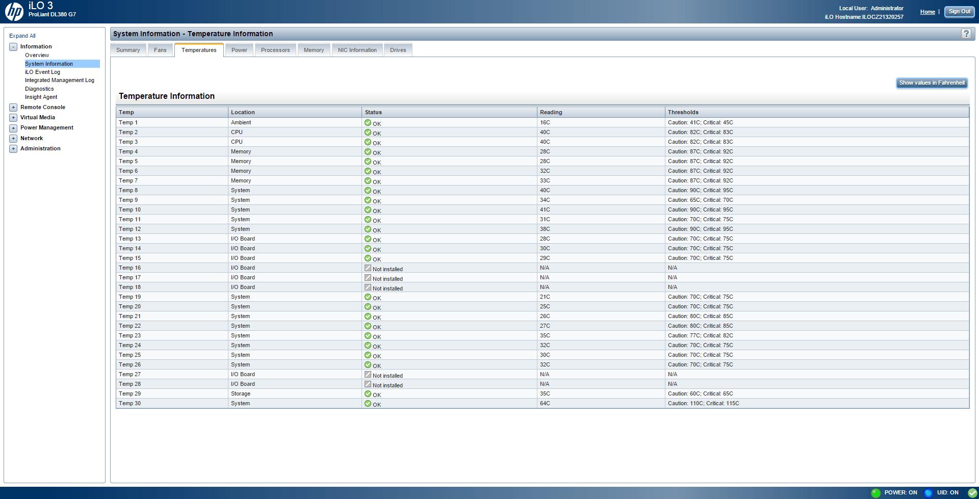 Обзор параметров ILO 3 в HP dl380 g7-05
