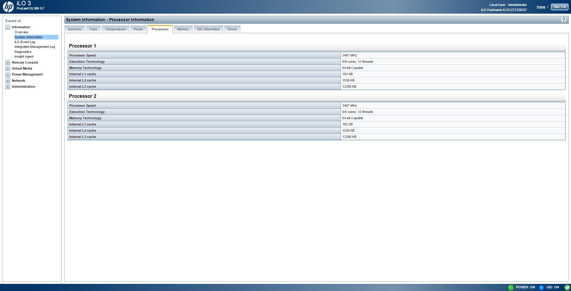 Обзор параметров ILO 3 в HP dl380 g7-07