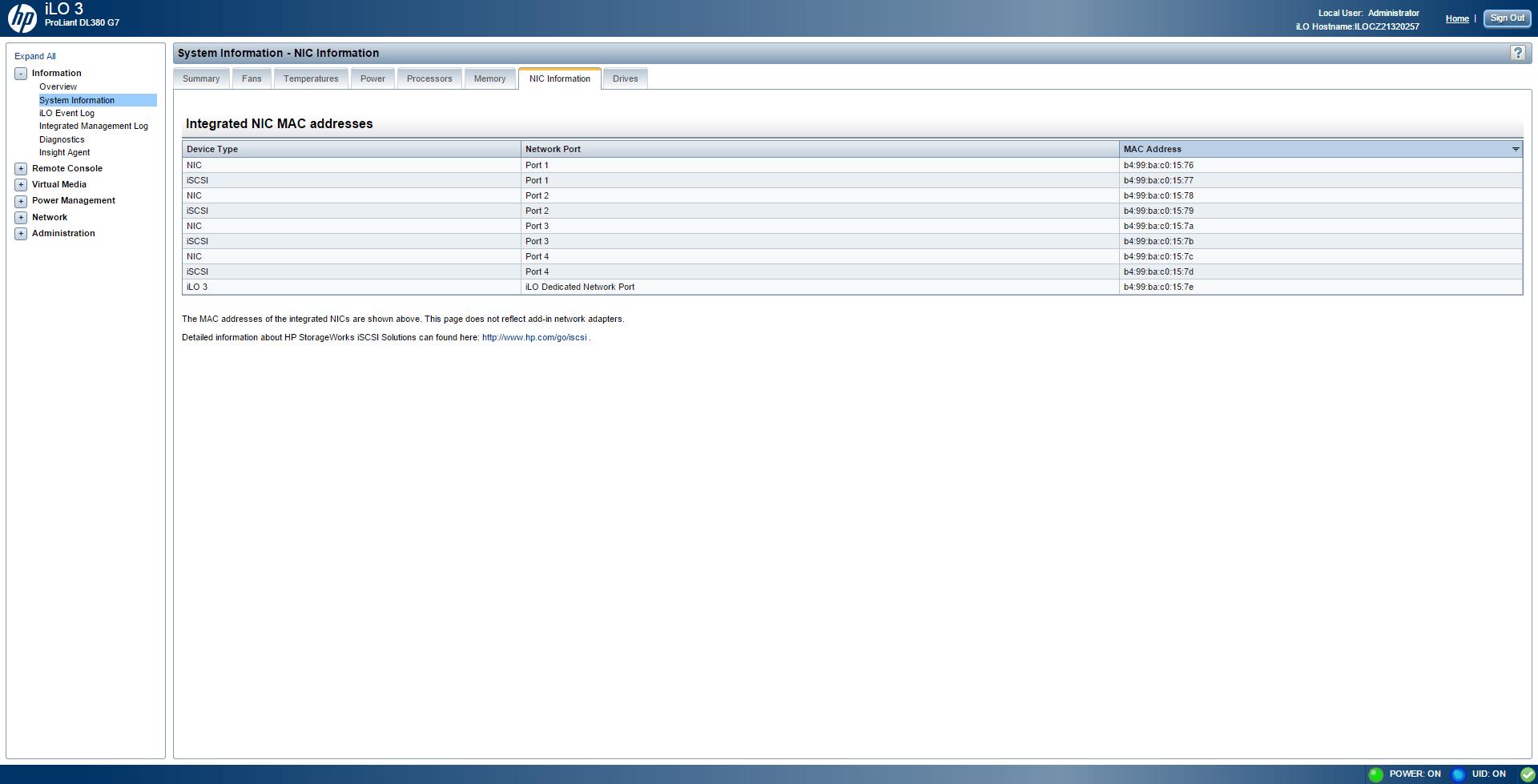Обзор параметров ILO 3 в HP dl380 g7-09