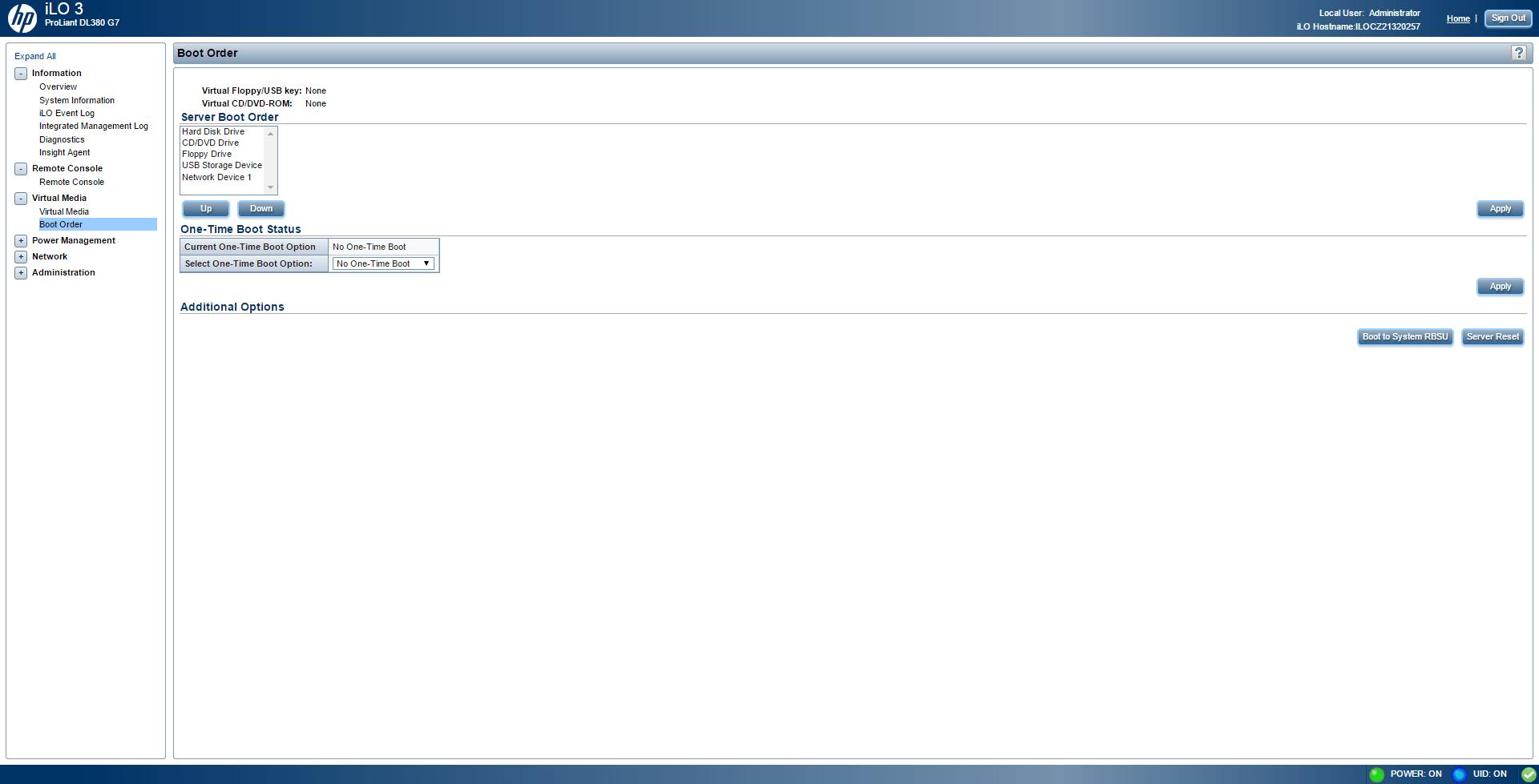 Обзор параметров ILO 3 в HP dl380 g7-16