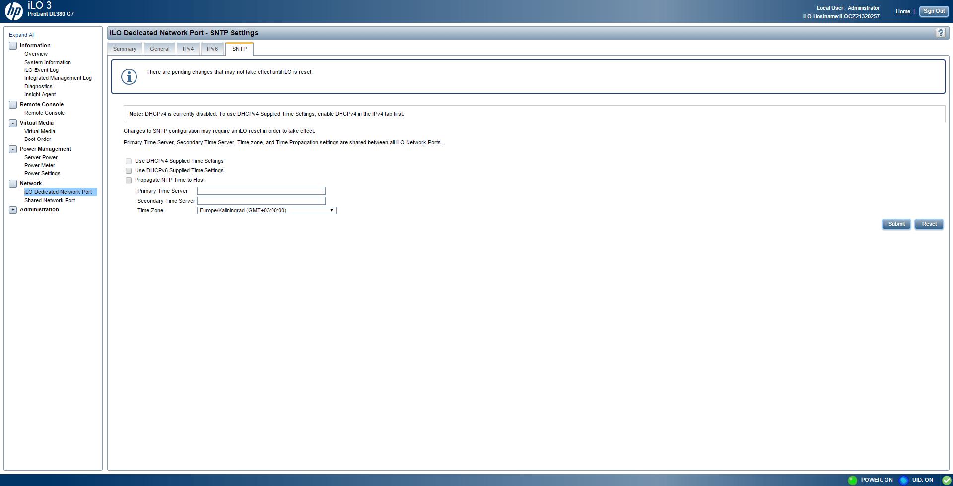 Обзор параметров ILO 3 в HP dl380 g7-22