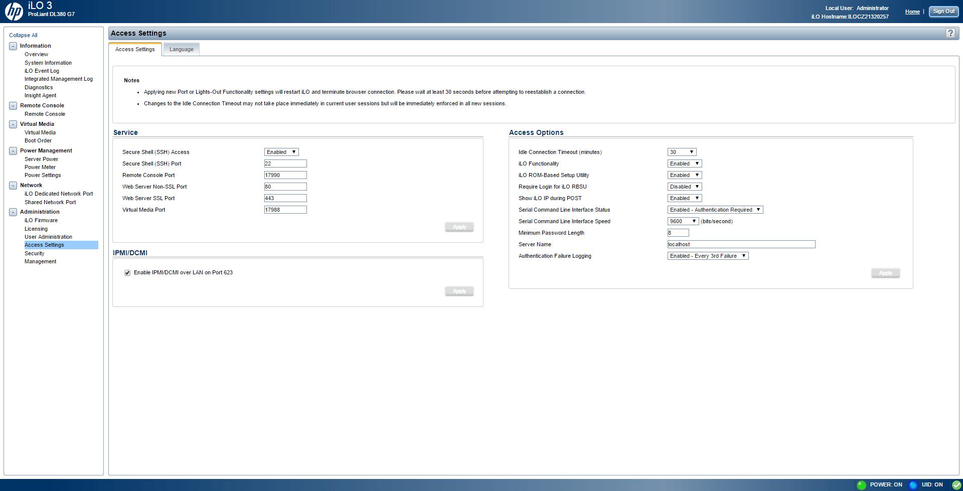 Обзор параметров ILO 3 в HP dl380 g7-25