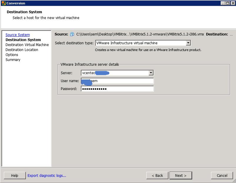 Как конвертировать виртуальную машину vMware Workstation в ESXI 5.5-06
