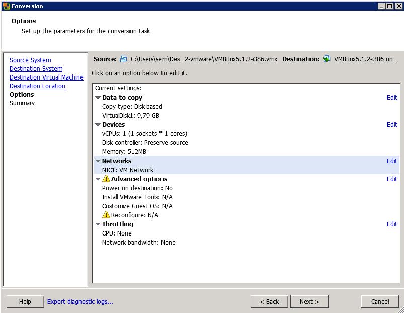 Как конвертировать виртуальную машину vMware Workstation в ESXI 5.5-09