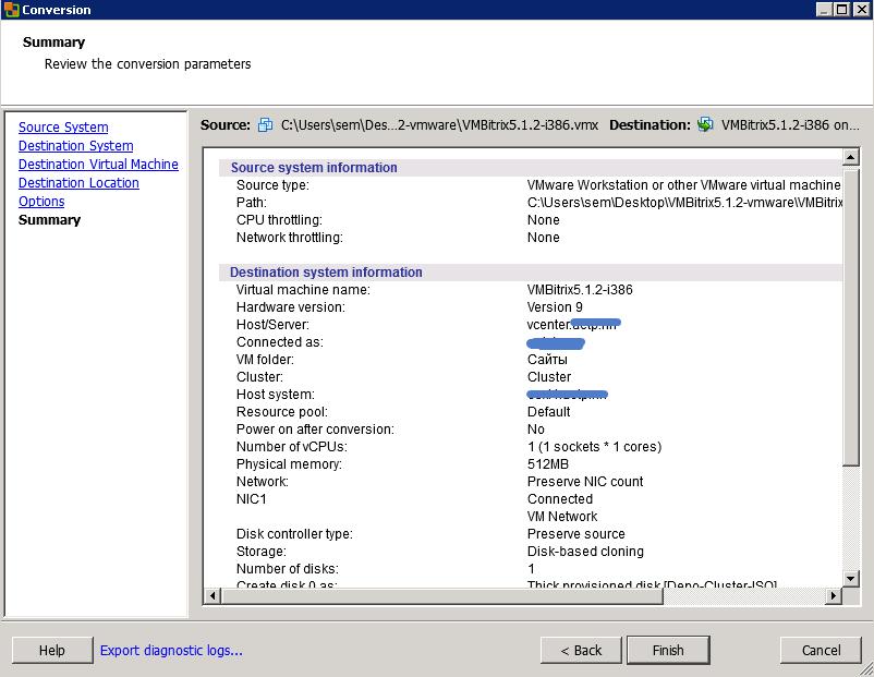 Как конвертировать виртуальную машину vMware Workstation в ESXI 5.5-10