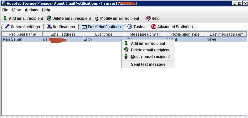 Как настроить email оповещение в adaptec storage manager-09