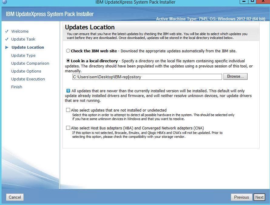 Как обновить все прошивки на IBM сервере из локального репозитория-03