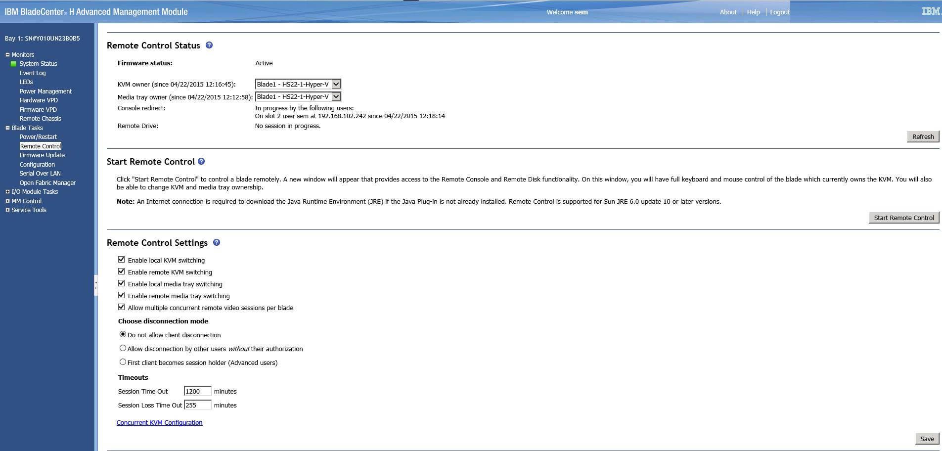 Как примонтировать DVD или ISO в AMM IBM Blade Center-01