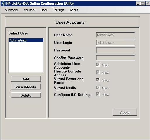 Как сбросить пароль пользователя на HP ILO порту-01