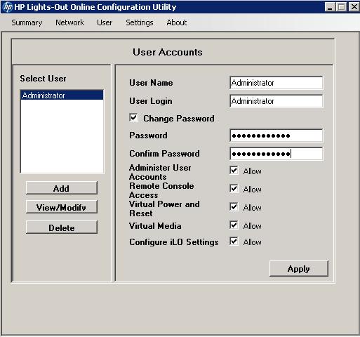 Как сбросить пароль пользователя на HP ILO порту-02