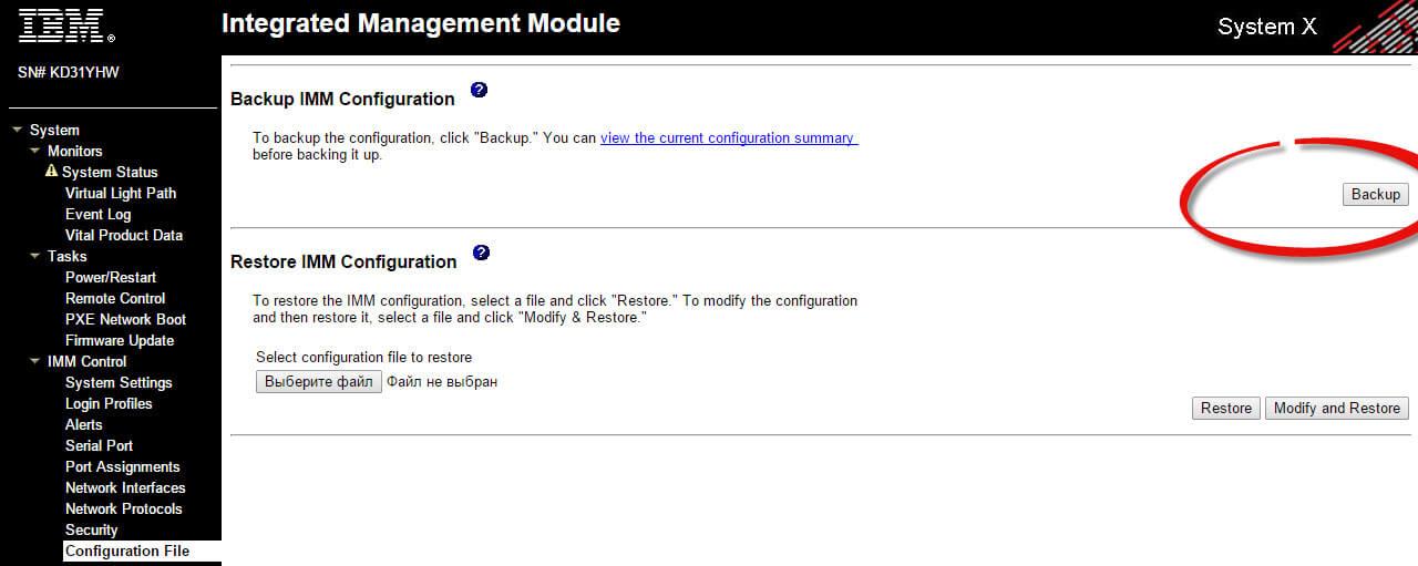 Как создать резервную копию IMM конфига на IBM сервере-01