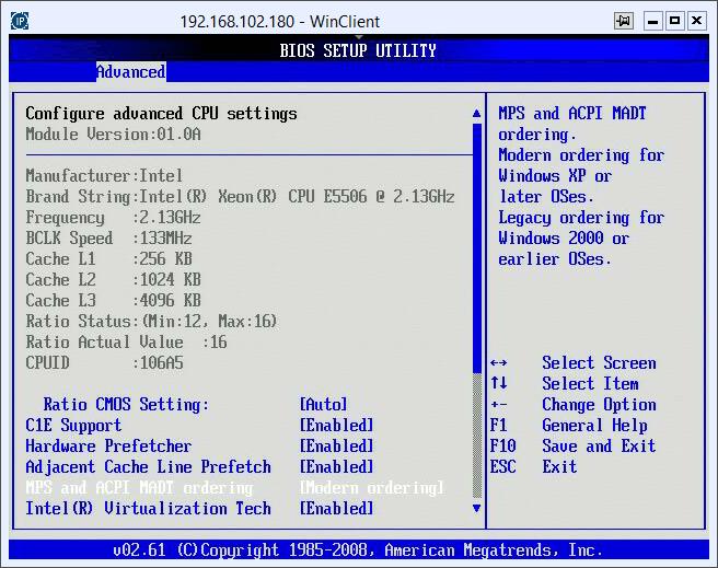 Как включить поддержку виртуализации на сервере Asus Z8NR-D12-4