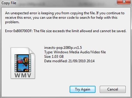 Ошибка 0x800700DF Размер файла превышает установленное ограничение, сохранение файла невозможно