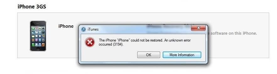Не удалось восстановить айфон ошибка 3194