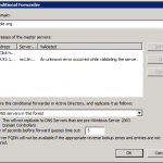 Ошибка Condition forwarding: An unknown error occurred while validating the server в DNS Windows Server 2008 R2