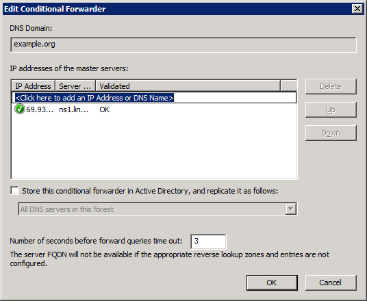 Ошибка Condition forwarding An unknown error occurred while validating the server в DNS Windows Server 2008 R2-02