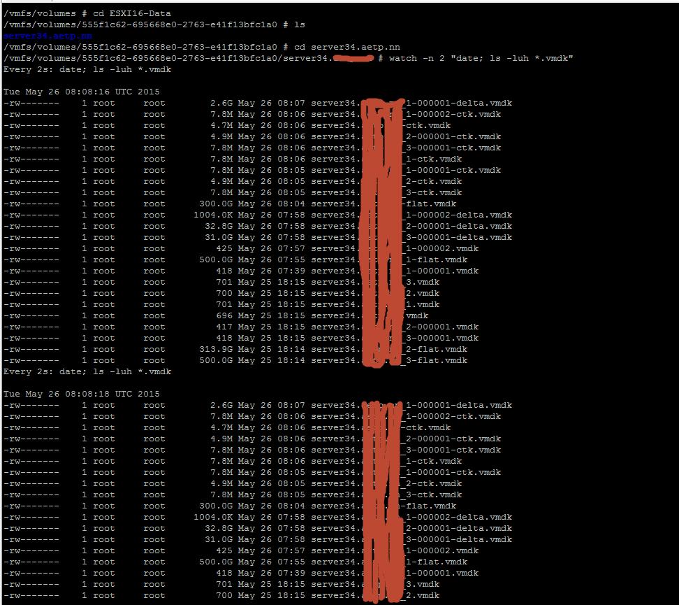Как мониторить процесс удаления snapshot из командной строки в ESXI 5.5-02