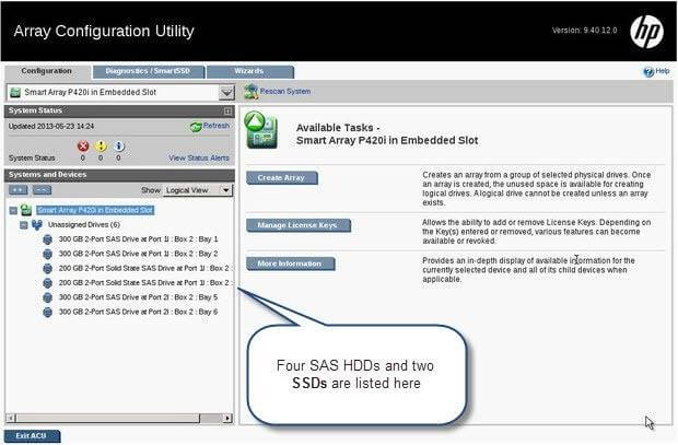 Как настроить HP SmartCache на сервере HP Gen8-06