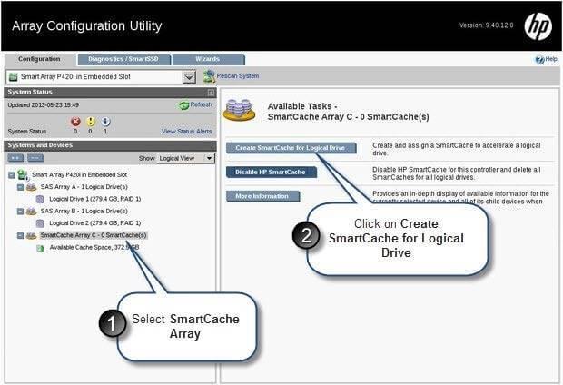 Как настроить HP SmartCache на сервере HP Gen8-20