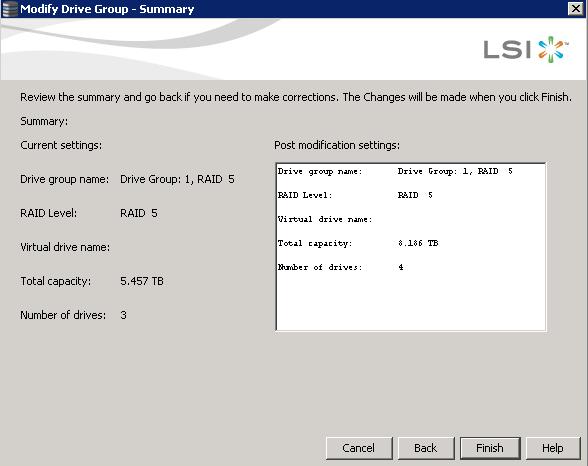 Как добавить диск в существующий RAID на контроллере LSI-01
