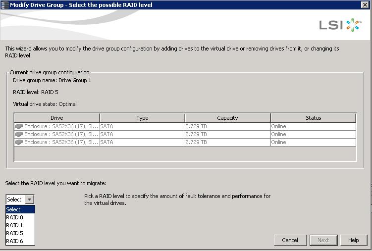 Как изменить тип рейда с RAID5 на RAID6 в контроллерах LSI-04