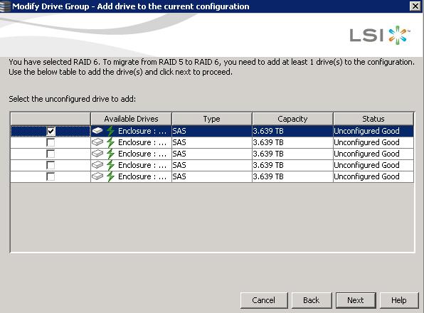 Как изменить тип рейда с RAID5 на RAID6 в контроллерах LSI-05