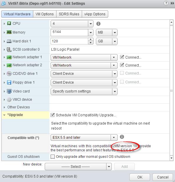 Как обновить версию виртуальной машины ESXI 5.5-Как обновить VM Version ESXI 5.5-07