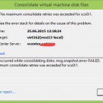Ошибка An error occurred while consolidating disks msg.snapshot.error-failed. the maximum consolidate retries was exceeded в ESXI 5.5