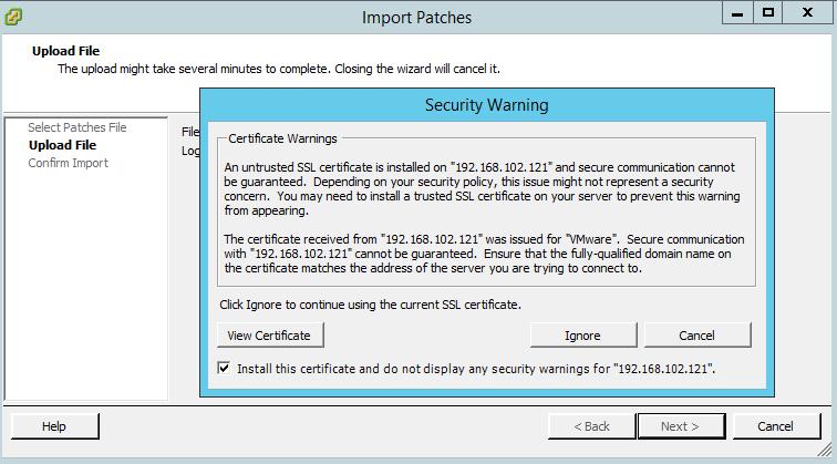 Как добавить свой патч в Update Manager vCenter 5.5-05