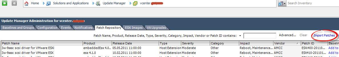 Как импортировать vib драйвер в Update Manager vCenter 5.5-02