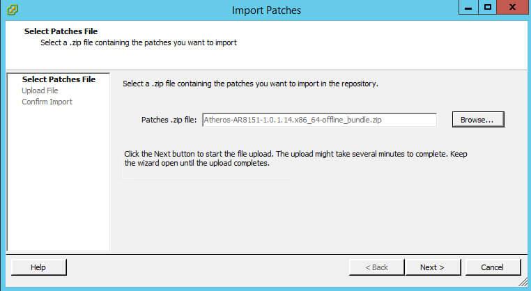 Как импортировать vib драйвер в Update Manager vCenter 5.5-13