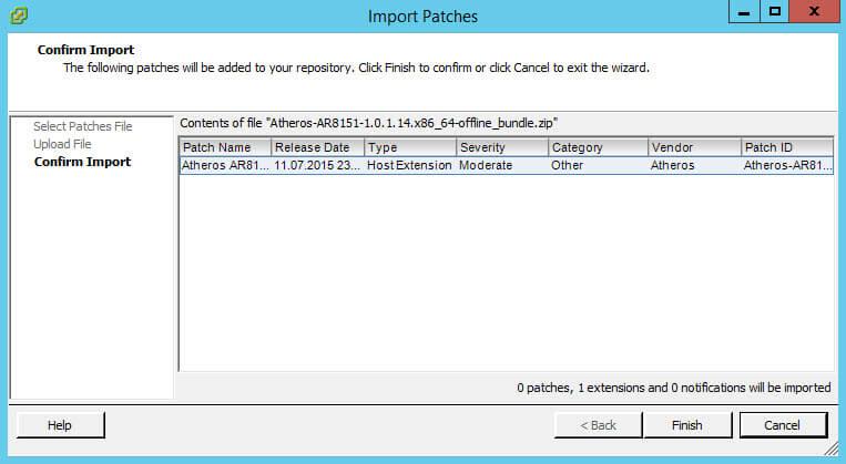 Как импортировать vib драйвер в Update Manager vCenter 5.5-14