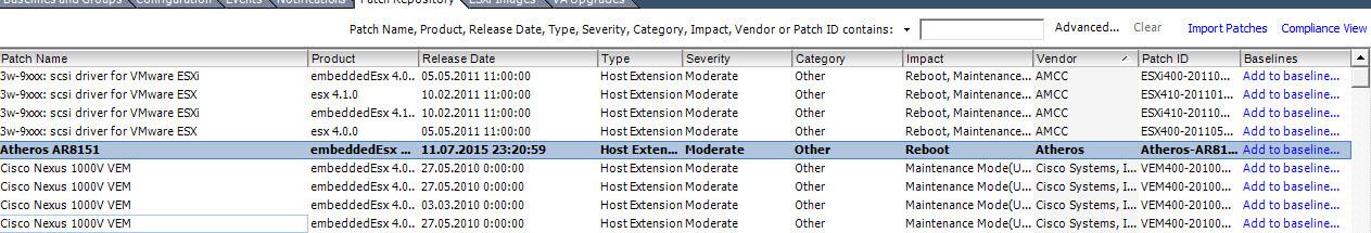 Как импортировать vib драйвер в Update Manager vCenter 5.5-15