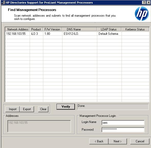Как настроить аутентификацию Active Directory на HP iLO 3-04