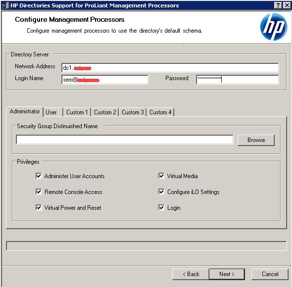 Как настроить аутентификацию Active Directory на HP iLO 3-07