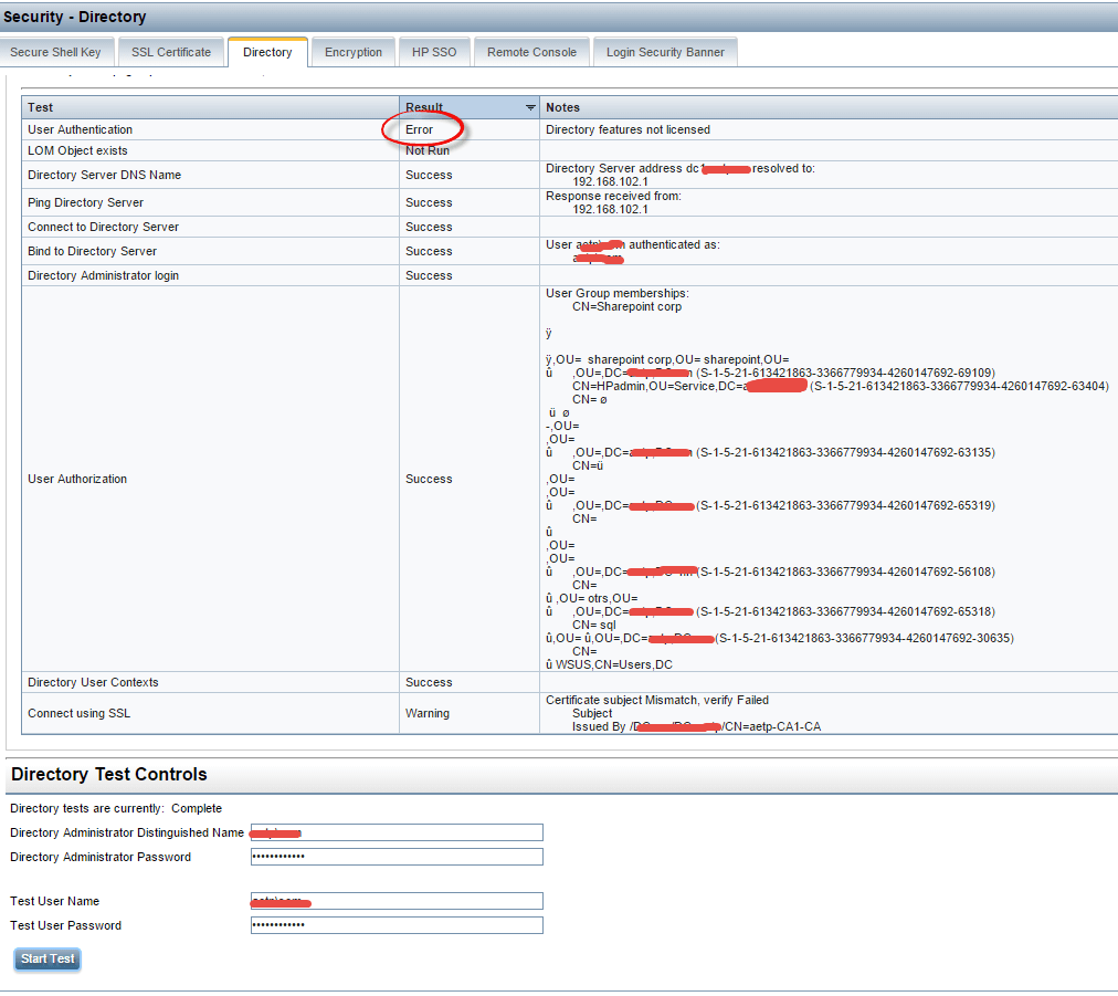 Как настроить аутентификацию Active Directory на HP iLO 3 через WEB интерфейс ILO-06