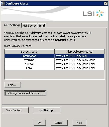 Как настроить email оповещение в LSI MegaRAID-03