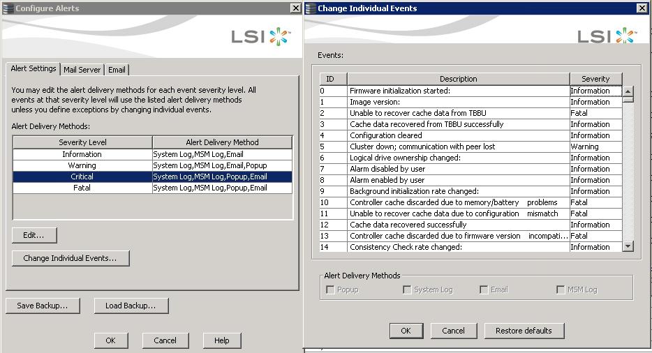 Как настроить email оповещение в LSI MegaRAID-07