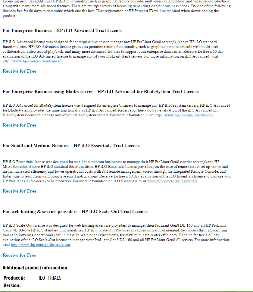 Как получить пробную лицензию HP для ILO порта-02