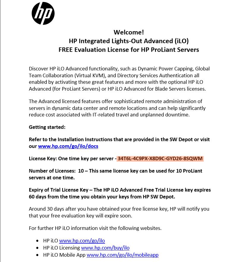 Как получить пробную лицензию HP для ILO порта-12