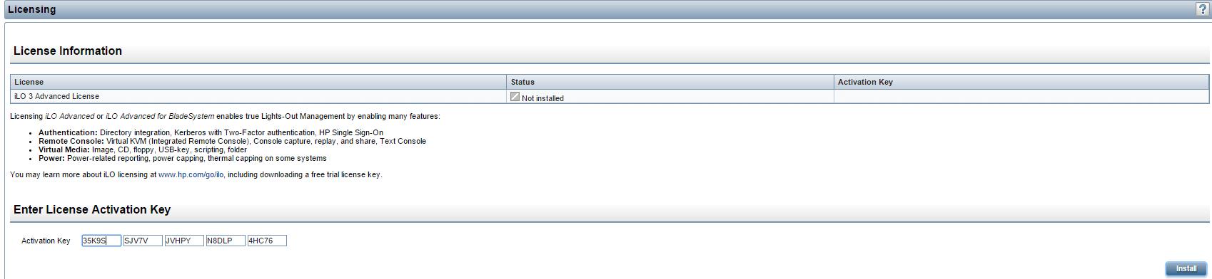 Как получить пробную лицензию HP для ILO порта-13