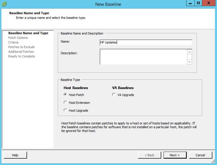 Как создать baseline задание в vCenter 5.5-02