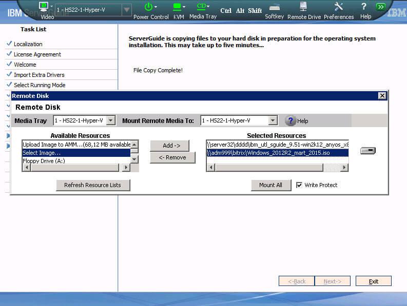 Как установить Windows 2012R2 на блейды IBM Blade HS22-17