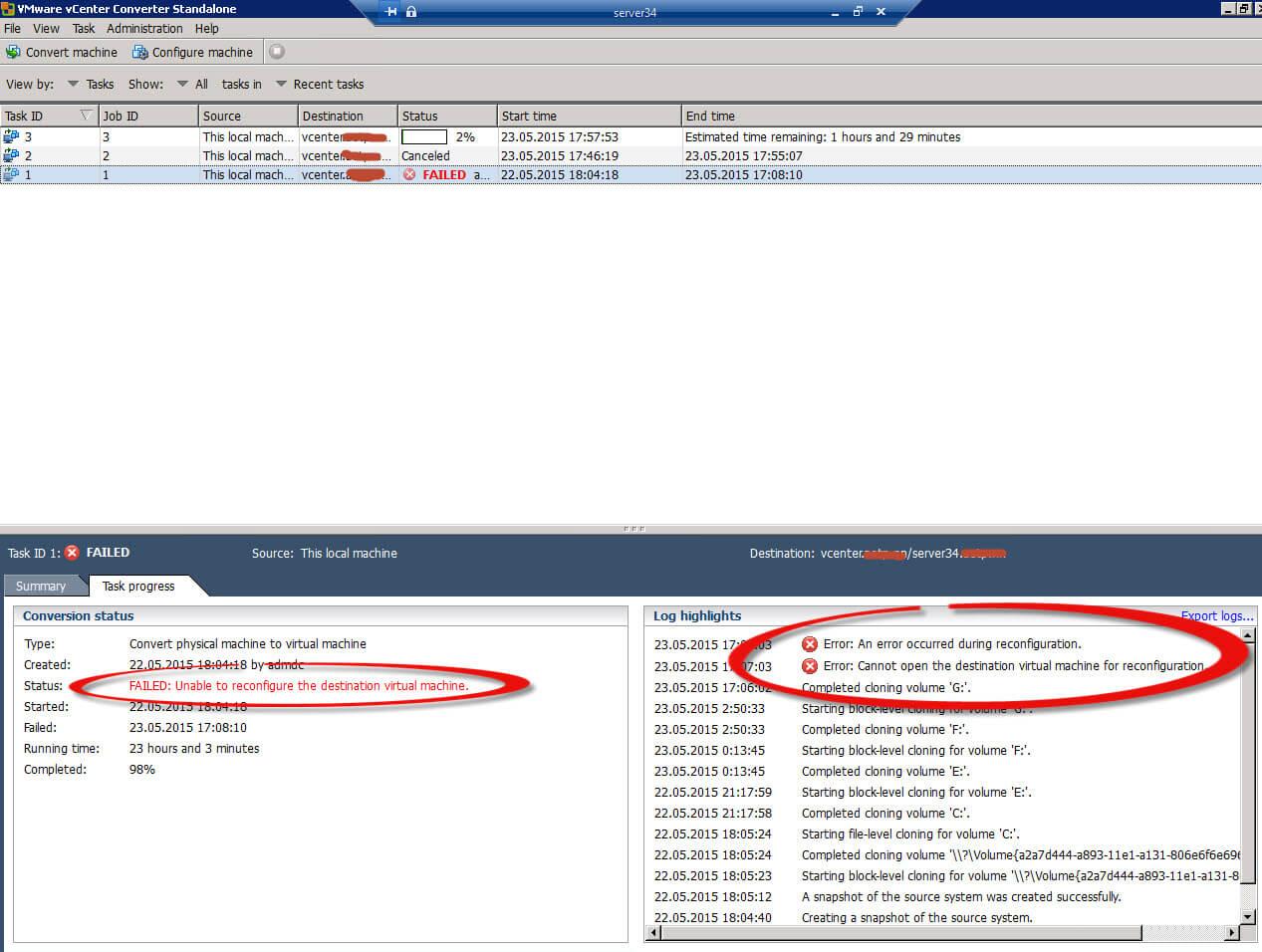 Ошибка an error occurred during reconfiguration при конвертировании физического сервера в виртуальный-02