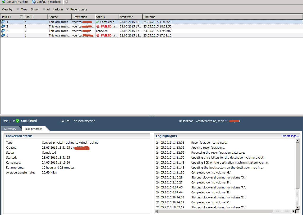 Ошибка an error occurred during reconfiguration при конвертировании физического сервера в виртуальный-04
