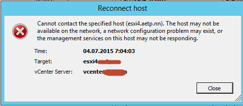 Ошибка cannot contact the specified host. The host may not be available on the network, a network configuration problem may exist, or the management service on this host is not responding