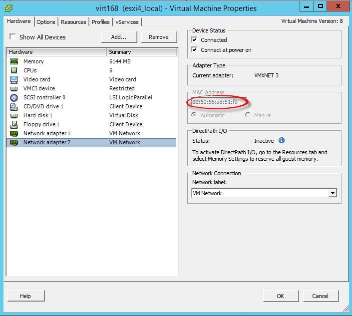 Как добавить второй сетевой интерфейс с внешним ip адресом в CentOS 7 на виртуальной машине ESXI 5.5-05