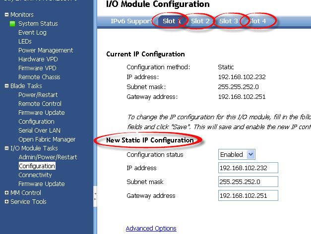Как настроить ip адрес IO Module в IBM BladeCenter-02