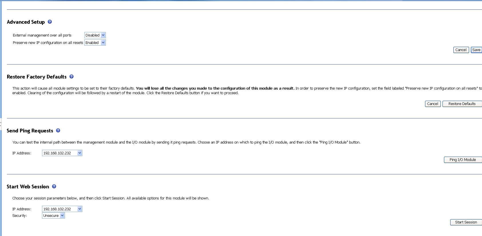 Как настроить ip адрес IO Module в IBM BladeCenter-03
